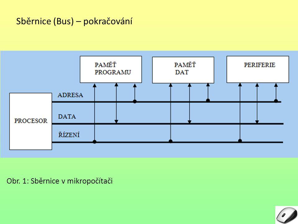 Sběrnice (Bus) – pokračování Obr. 1: Sběrnice v mikropočítači