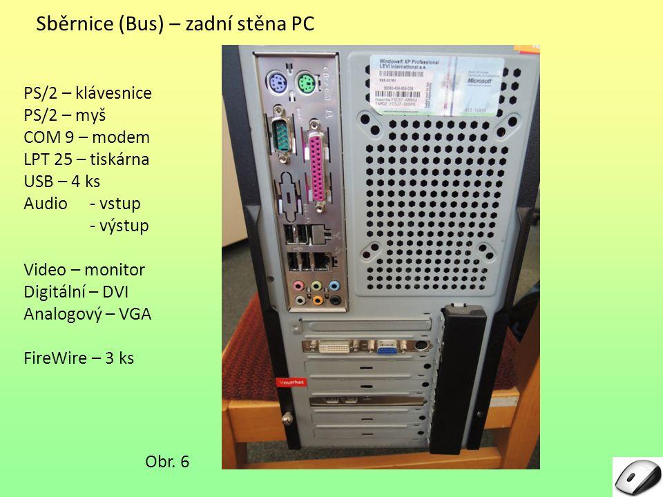 Sběrnice (Bus) – zadní stěna PC Obr. 6 PS/2 – klávesnice PS/2 – myš COM 9 – modem LPT 25 – tiskárna USB – 4 ks Audio - vstup - výstup Video – monitor