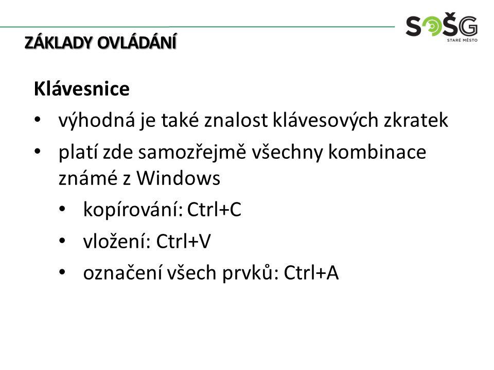 ZÁKLADY OVLÁDÁNÍ Klávesnice výhodná je také znalost klávesových zkratek platí zde samozřejmě všechny kombinace známé z Windows kopírování: Ctrl+C vložení: Ctrl+V označení všech prvků: Ctrl+A