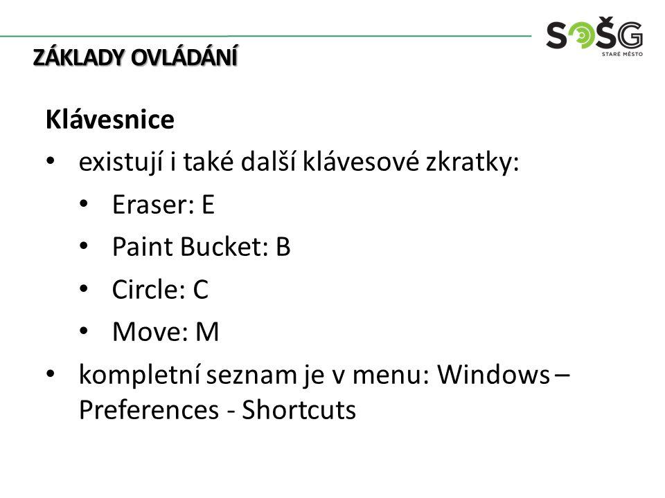 ZÁKLADY OVLÁDÁNÍ Klávesnice existují i také další klávesové zkratky: Eraser: E Paint Bucket: B Circle: C Move: M kompletní seznam je v menu: Windows –