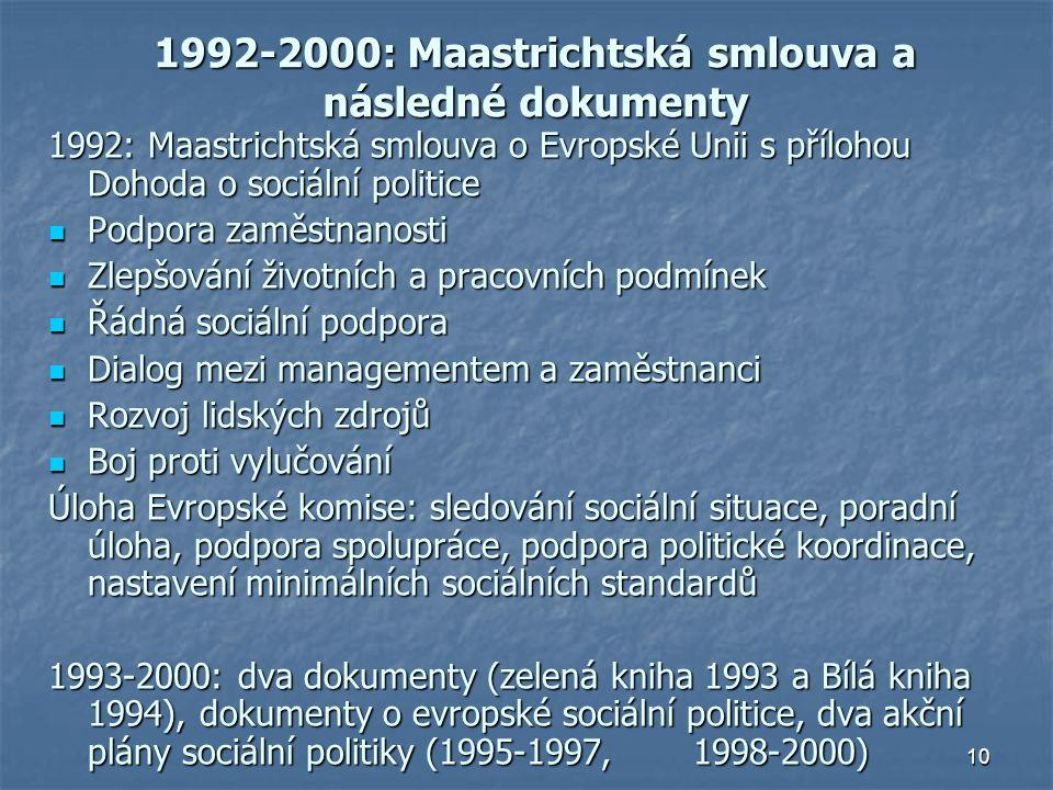 10 1992-2000: Maastrichtská smlouva a následné dokumenty 1992: Maastrichtská smlouva o Evropské Unii s přílohou Dohoda o sociální politice Podpora zaměstnanosti Podpora zaměstnanosti Zlepšování životních a pracovních podmínek Zlepšování životních a pracovních podmínek Řádná sociální podpora Řádná sociální podpora Dialog mezi managementem a zaměstnanci Dialog mezi managementem a zaměstnanci Rozvoj lidských zdrojů Rozvoj lidských zdrojů Boj proti vylučování Boj proti vylučování Úloha Evropské komise: sledování sociální situace, poradní úloha, podpora spolupráce, podpora politické koordinace, nastavení minimálních sociálních standardů 1993-2000: dva dokumenty (zelená kniha 1993 a Bílá kniha 1994), dokumenty o evropské sociální politice, dva akční plány sociální politiky (1995-1997, 1998-2000)