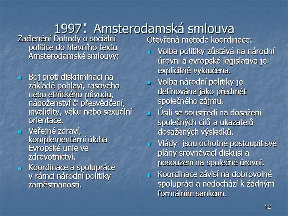 12 1997 : Amsterodamská smlouva Začlenění Dohody o sociální politice do hlavního textu Amsterodamské smlouvy: Boj proti diskriminaci na základě pohlaví, rasového nebo etnického původu, náboženství či přesvědčení, invalidity, věku nebo sexuální orientace.