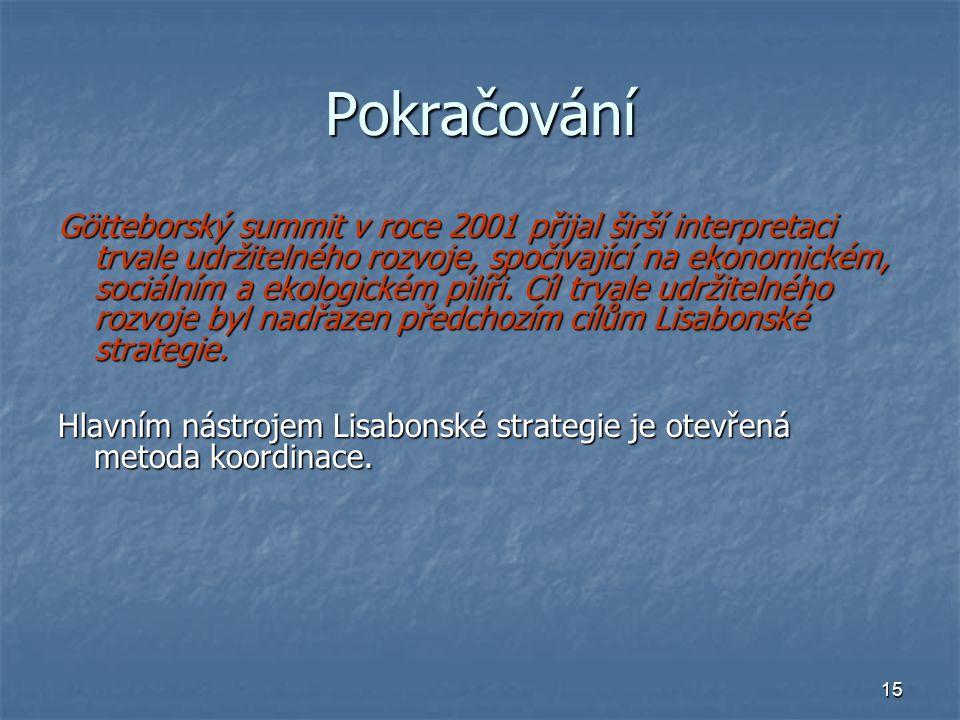 15 Pokračování Götteborský summit v roce 2001 přijal širší interpretaci trvale udržitelného rozvoje, spočívající na ekonomickém, sociálním a ekologickém pilíři.