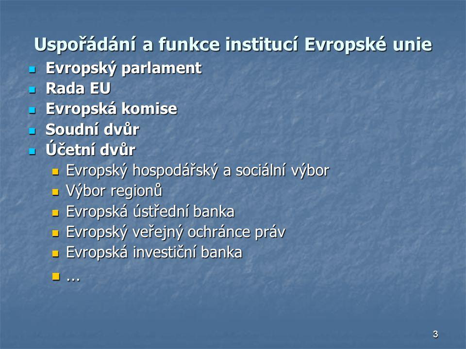 3 Uspořádání a funkce institucí Evropské unie Evropský parlament Evropský parlament Rada EU Rada EU Evropská komise Evropská komise Soudní dvůr Soudní dvůr Účetní dvůr Účetní dvůr Evropský hospodářský a sociální výbor Evropský hospodářský a sociální výbor Výbor regionů Výbor regionů Evropská ústřední banka Evropská ústřední banka Evropský veřejný ochránce práv Evropský veřejný ochránce práv Evropská investiční banka Evropská investiční banka …