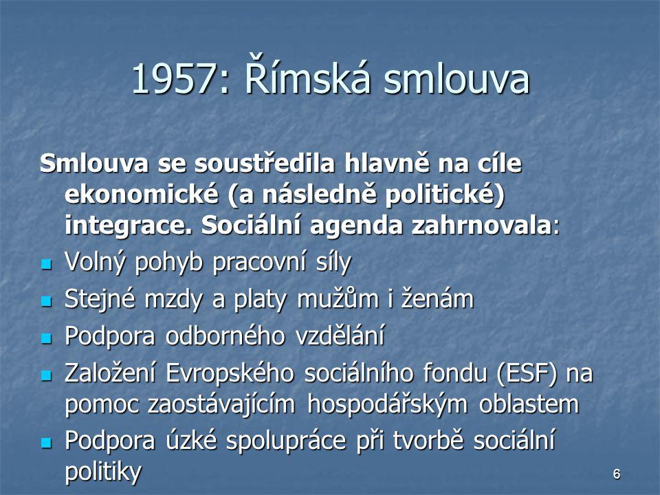 6 1957: Římská smlouva Smlouva se soustředila hlavně na cíle ekonomické (a následně politické) integrace.