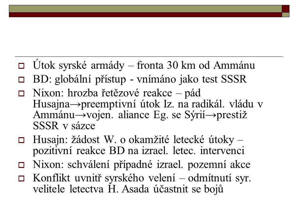  Útok syrské armády – fronta 30 km od Ammánu  BD: globální přístup - vnímáno jako test SSSR  Nixon: hrozba řetězové reakce – pád Husajna → preemptivní útok Iz.