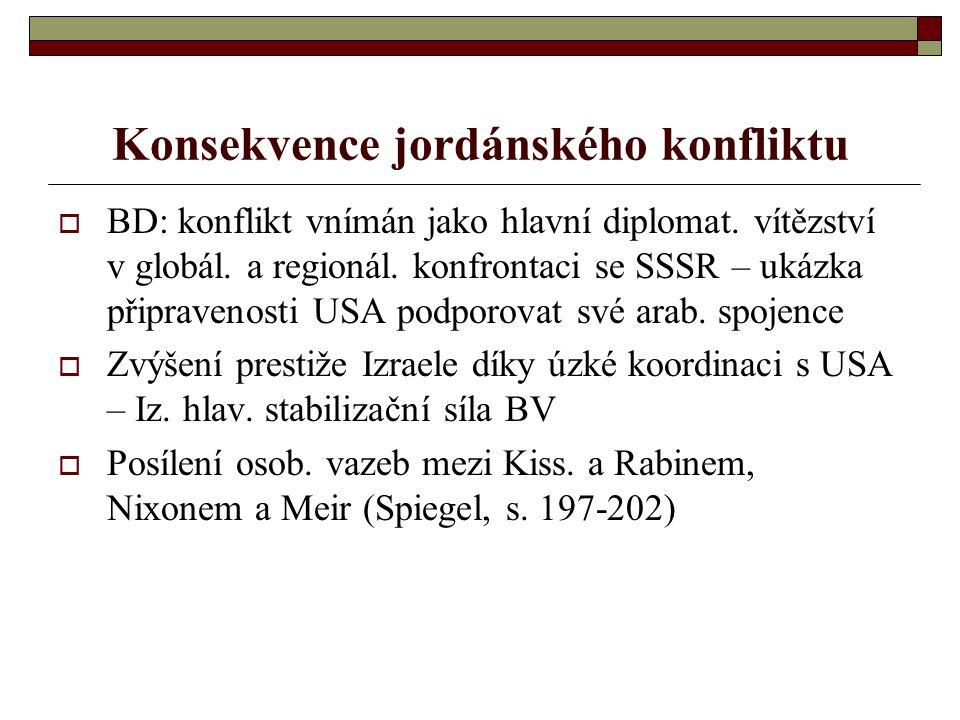 Konsekvence jordánského konfliktu  BD: konflikt vnímán jako hlavní diplomat.