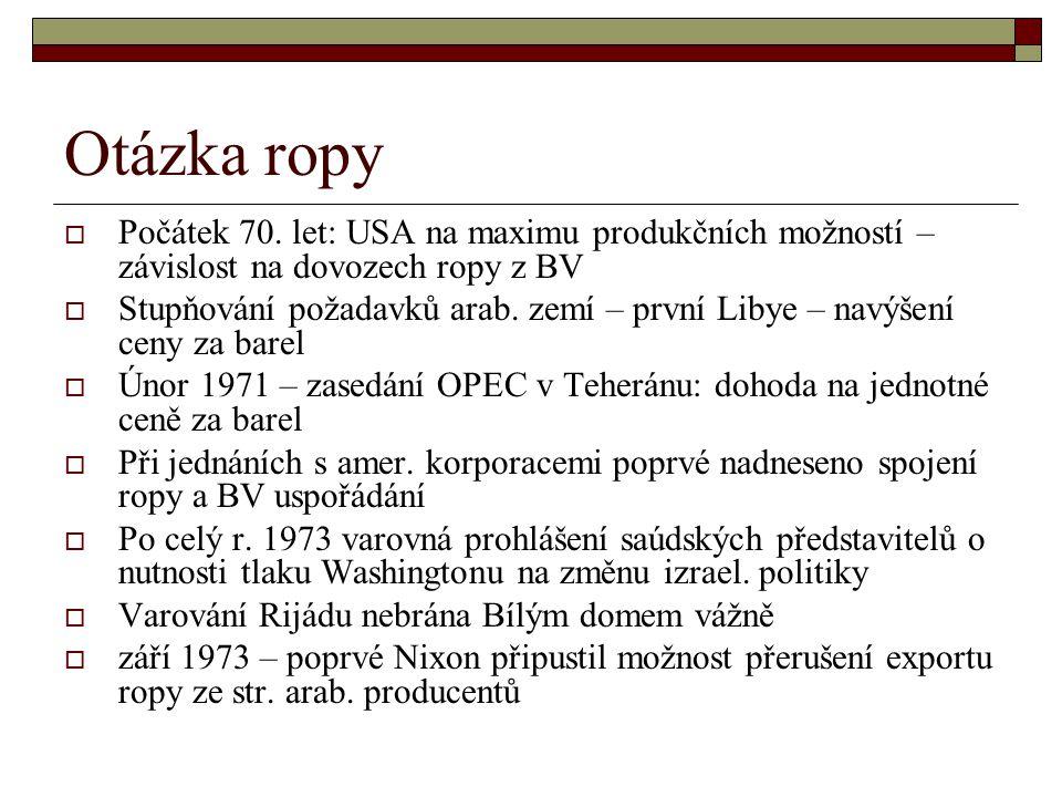 Otázka ropy  Počátek 70.