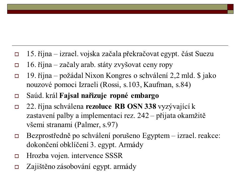  15.října – izrael. vojska začala překračovat egypt.