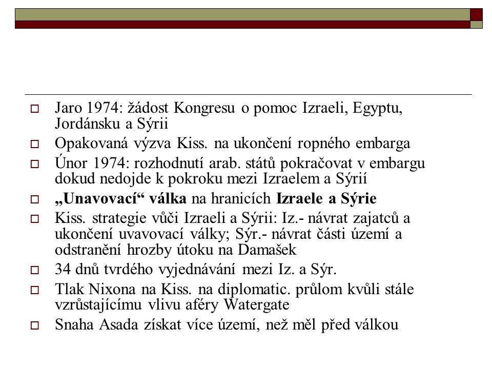  Jaro 1974: žádost Kongresu o pomoc Izraeli, Egyptu, Jordánsku a Sýrii  Opakovaná výzva Kiss.