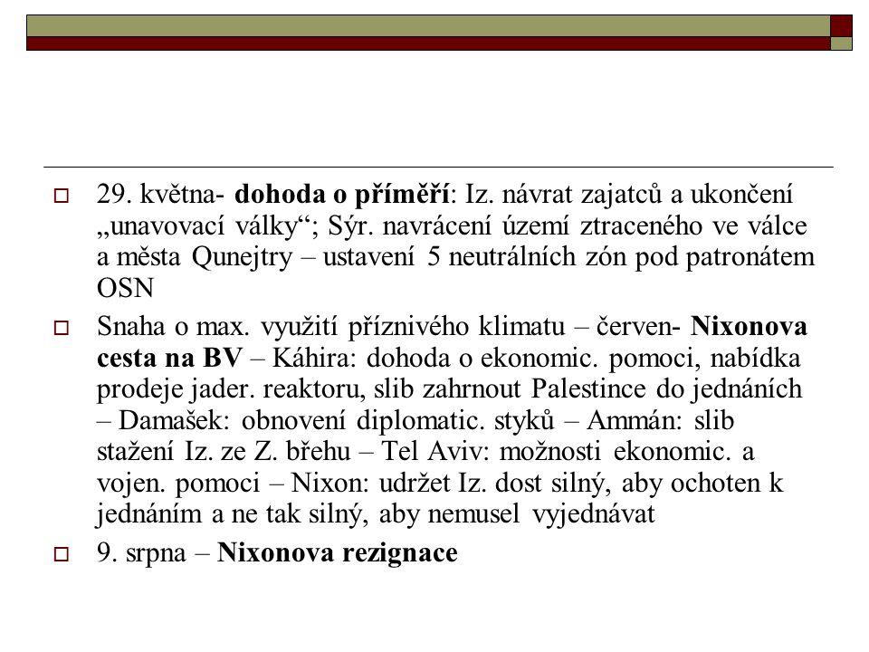 """ 29.května- dohoda o příměří: Iz. návrat zajatců a ukončení """"unavovací války ; Sýr."""