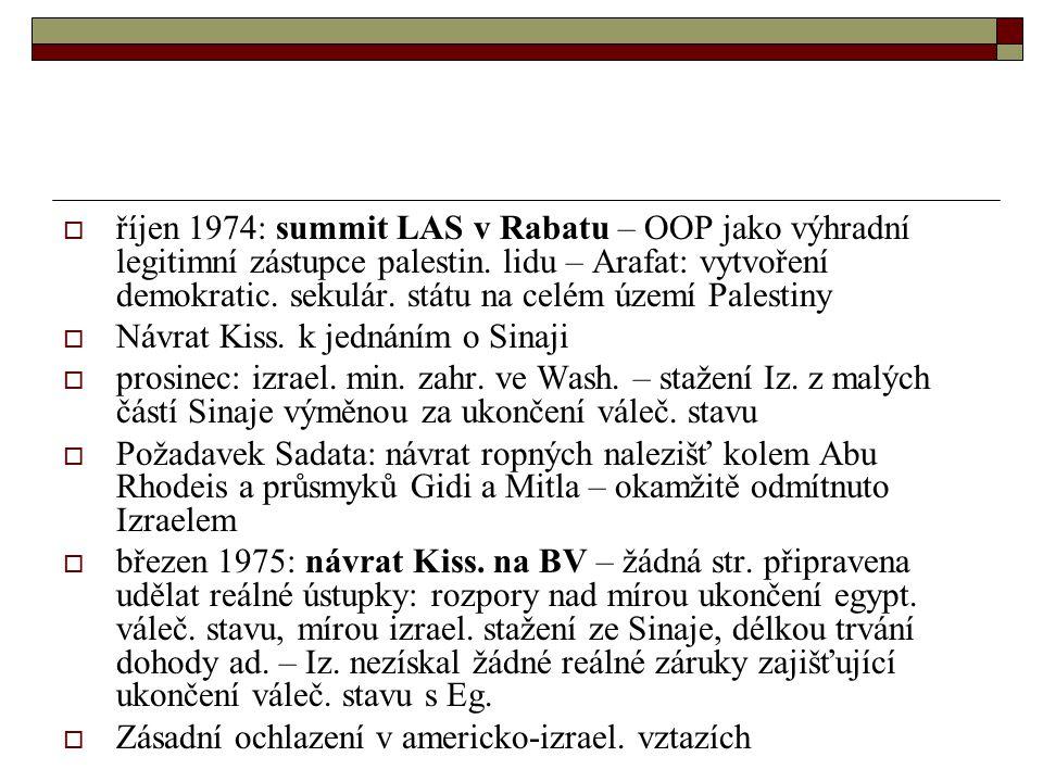  říjen 1974: summit LAS v Rabatu – OOP jako výhradní legitimní zástupce palestin.