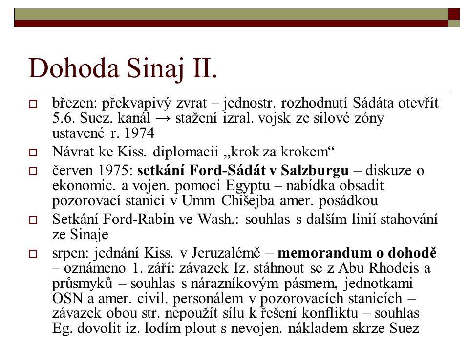 Dohoda Sinaj II. březen: překvapivý zvrat – jednostr.