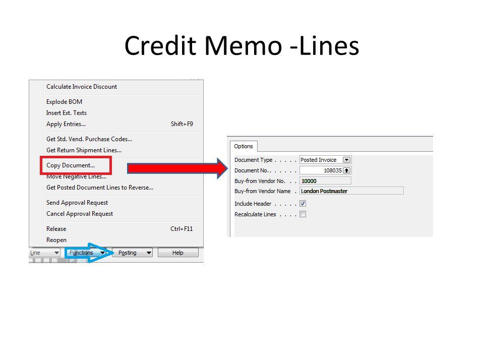 Credit Memo -Lines