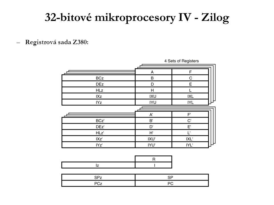 32-bitové mikroprocesory IV - Zilog –Registrová sada Z380:
