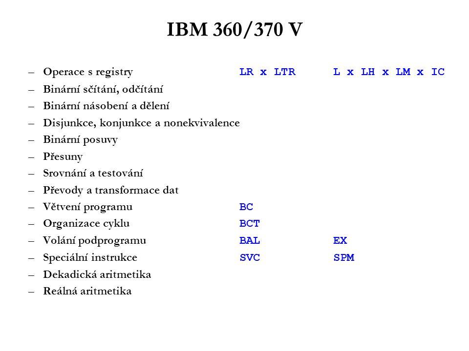 IBM 360/370 VI Přerušení: –Pět typů: vnější přerušení programové přerušení přerušení I/O přerušení vyvoláním supervisoru přerušení chybou stroje –PSW se uloží do smluvené oblasti paměti určené typem přerušení a naplní se opět ze smluvené oblasti paměti určené typem přerušení