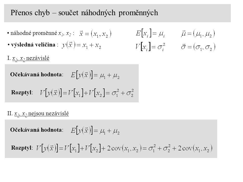 Přenos chyb – součet náhodných proměnných náhodné proměnné x 1, x 2 : výsledná veličina : Očekávaná hodnota: Rozptyl: I.