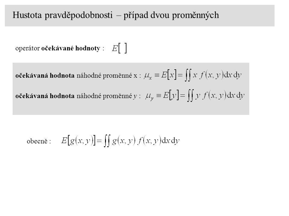 Hustota pravděpodobnosti – případ dvou proměnných očekávaná hodnota náhodné proměnné x : operátor očekávané hodnoty : očekávaná hodnota náhodné proměnné y : obecně :