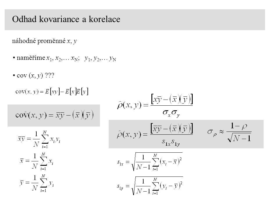 Odhad kovariance a korelace náhodné proměnné x, y naměříme x 1, x 2,… x N ; y 1, y 2,… y N cov (x, y) ???