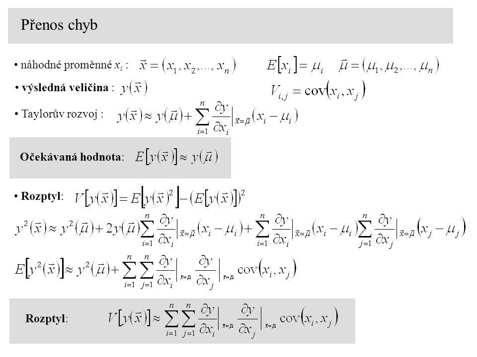 Přenos chyb náhodné proměnné x i : výsledná veličina : Taylorův rozvoj : Očekávaná hodnota: Rozptyl: