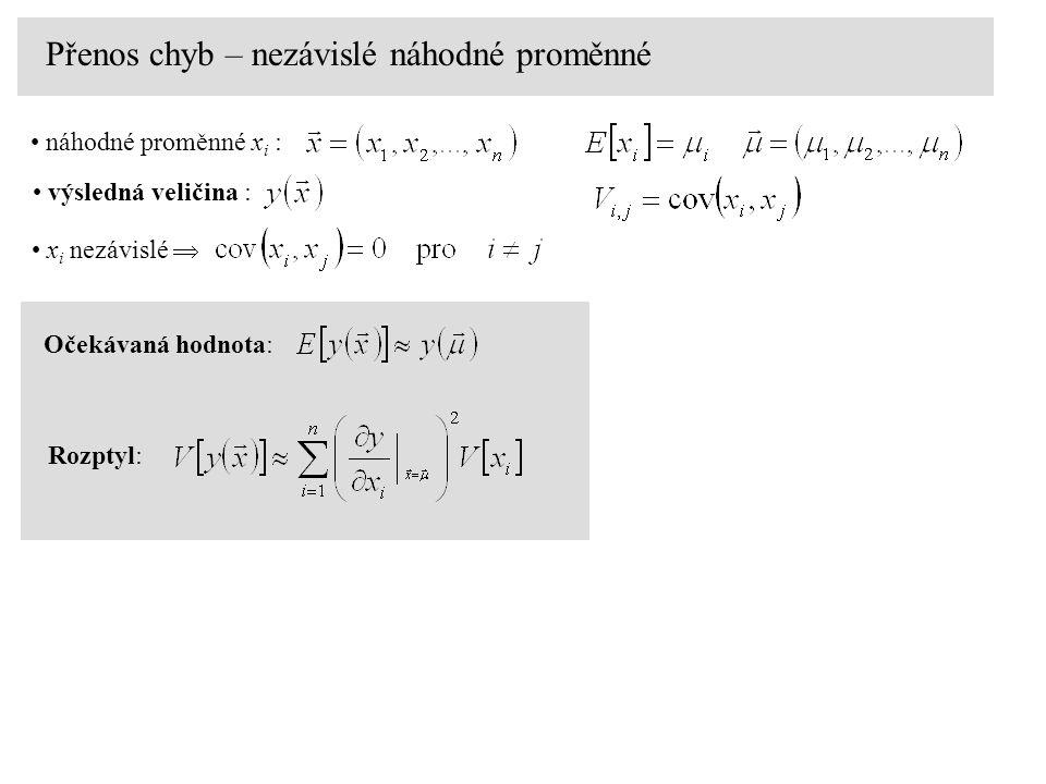 Přenos chyb – nezávislé náhodné proměnné Očekávaná hodnota: Rozptyl: x i nezávislé  náhodné proměnné x i : výsledná veličina :