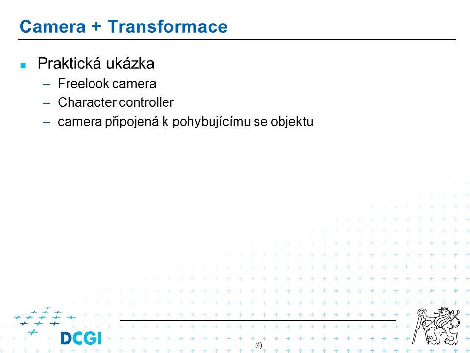 (4) Camera + Transformace Praktická ukázka –Freelook camera –Character controller –camera připojená k pohybujícímu se objektu