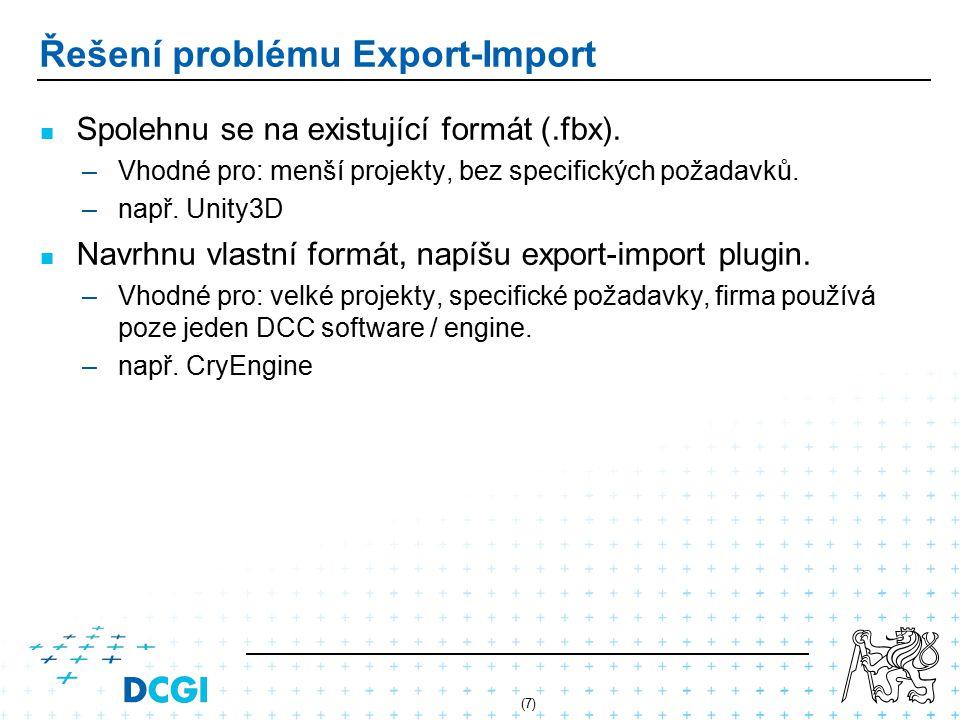 (7) Řešení problému Export-Import Spolehnu se na existující formát (.fbx).