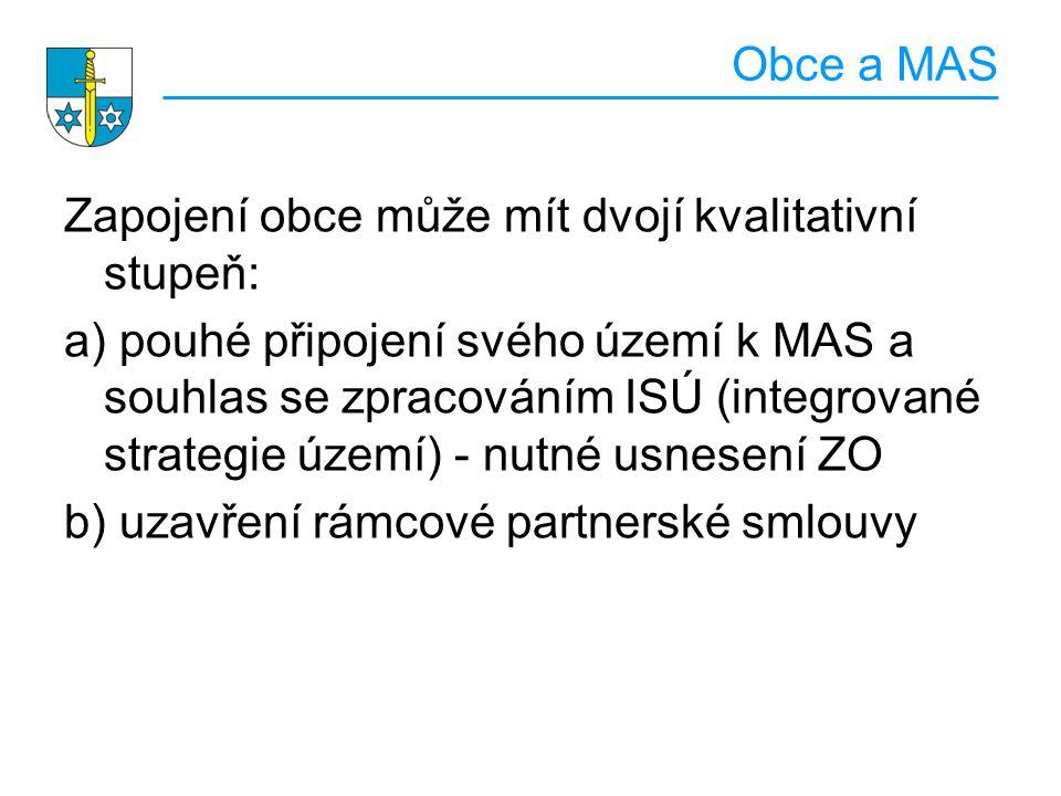 Obce a MAS Zapojení obce může mít dvojí kvalitativní stupeň: a) pouhé připojení svého území k MAS a souhlas se zpracováním ISÚ (integrované strategie území) - nutné usnesení ZO b) uzavření rámcové partnerské smlouvy