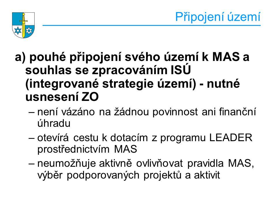 Připojení území a) pouhé připojení svého území k MAS a souhlas se zpracováním ISÚ (integrované strategie území) - nutné usnesení ZO –není vázáno na žádnou povinnost ani finanční úhradu –otevírá cestu k dotacím z programu LEADER prostřednictvím MAS –neumožňuje aktivně ovlivňovat pravidla MAS, výběr podporovaných projektů a aktivit