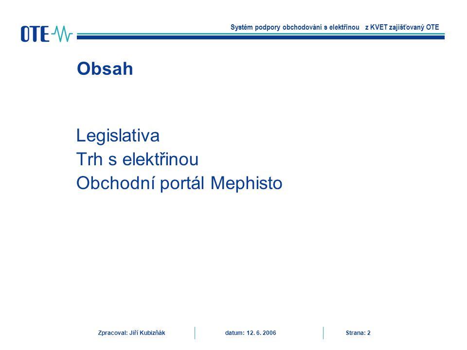 Směrnice 2004/8/ES –Nedostatečné využívání možností kombinované výroby elektřiny a tepla pro dosahování úspor energií a snížení emisí skleníkových plynů –KVET součást opatření ke splnění Kjótského protokolu k rámcové úmluvě OSN o změně podnebí –Podpora přenosu a distribuce dle směrnice 2001/77/ES o podpoře elektřiny vyrobené z obnovitelných zdrojů energie na vnitřním trhu s elektřinou Přednostní přístup k přenosovým a distribučním soustavám –Omezení právních a jiných překážek pro zvýšení KVET –Obecné zásady podpory KVET na úrovni společenství –Podrobné úpravy provádění v kompetenci členských států Legislativa Systém podpory obchodování s elektřinou z KVET zajišťovaný OTE Zpracoval: Jiří Kubizňák datum: 12.
