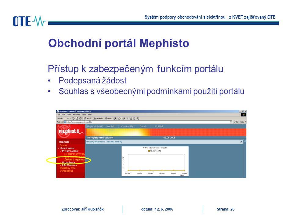 Přístup k zabezpečeným funkcím portálu Podepsaná žádost Souhlas s všeobecnými podmínkami použití portálu Obchodní portál Mephisto Systém podpory obcho