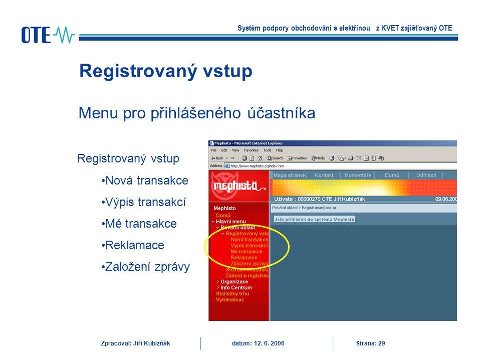 Menu pro přihlášeného účastníka Registrovaný vstup Systém podpory obchodování s elektřinou z KVET zajišťovaný OTE Zpracoval: Jiří Kubizňák datum: 12.