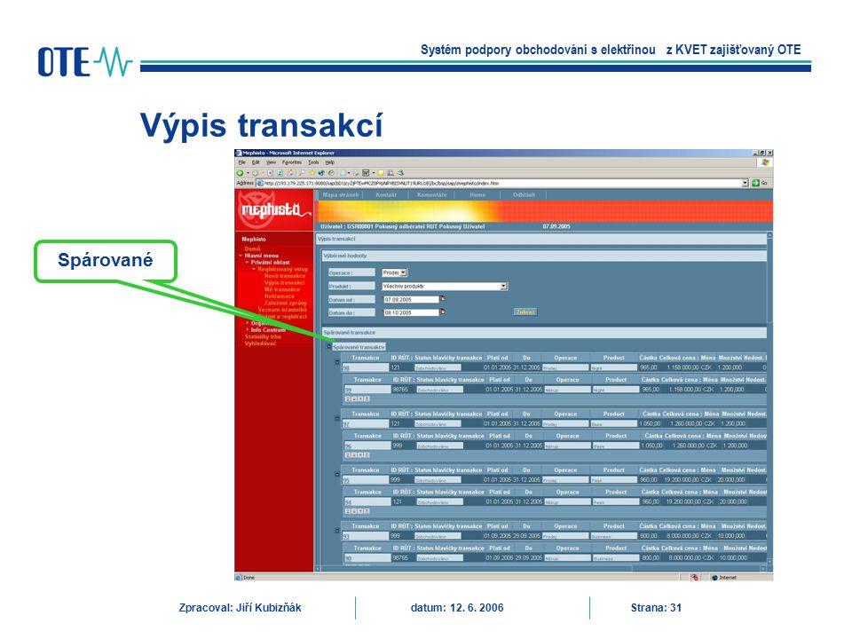 Výpis transakcí Systém podpory obchodování s elektřinou z KVET zajišťovaný OTE Zpracoval: Jiří Kubizňák datum: 12. 6. 2006 Strana: 31 Spárované