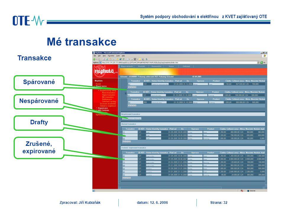 Mé transakce Systém podpory obchodování s elektřinou z KVET zajišťovaný OTE Zpracoval: Jiří Kubizňák datum: 12. 6. 2006 Strana: 32 Transakce Spárované