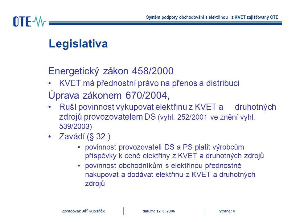 Vyhláška 439/2005 Stanoví podrobnosti způsobu určení množství elektřiny z kombinované výroby elektřiny a tepla a určení množství elektřiny z druhotných energetických zdrojů Účinnost 1.12.2005 OTE zveřejňuje k podpoře uzavírání obchodů s elektřinou pocházející z kombinované výroby a druhotných zdrojů, nabídky a poptávky z těchto zdrojů způsobem umožňujícím dálkový přístup Legislativa Systém podpory obchodování s elektřinou z KVET zajišťovaný OTE Zpracoval: Jiří Kubizňák datum: 12.
