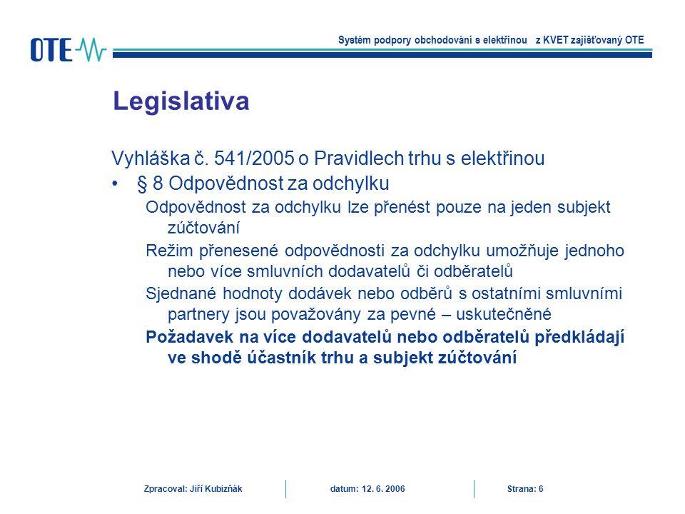 Dodávka činné elektrické energie na základě dvoustranných obchodů mezi účastníky trhu účasti na trhu s podpůrnými službami účasti na organizovaném krátkodobém trhu s elektřinou (dle § 27 zákona organizuje OTE) –Denní trh –Vnitrodenní trh účasti na vyrovnávacím trhu s regulační energií (dle § 27 zákona organizuje OTE ve spolupráci s provozovatelem přenosové soustavy) Trh s elektřinou Systém podpory obchodování s elektřinou z KVET zajišťovaný OTE Zpracoval: Jiří Kubizňák datum: 12.