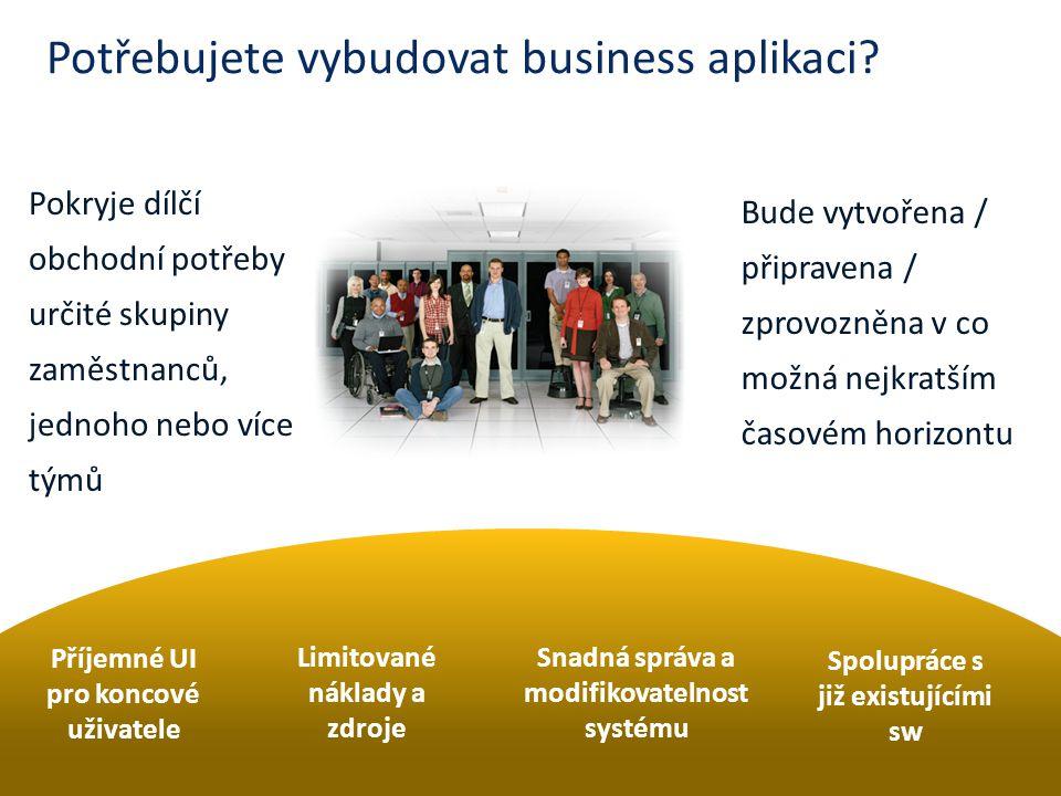 Potřebujete vybudovat business aplikaci? Pokryje dílčí obchodní potřeby určité skupiny zaměstnanců, jednoho nebo více týmů Bude vytvořena / připravena