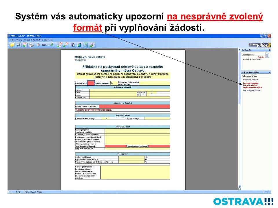 Systém vás automaticky upozorní na nesprávně zvolený formát při vyplňování žádosti.