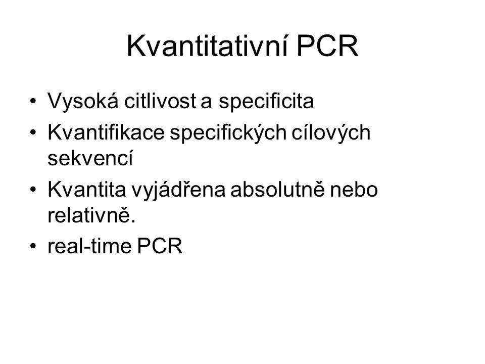 Kvantitativní PCR Vysoká citlivost a specificita Kvantifikace specifických cílových sekvencí Kvantita vyjádřena absolutně nebo relativně. real-time PC