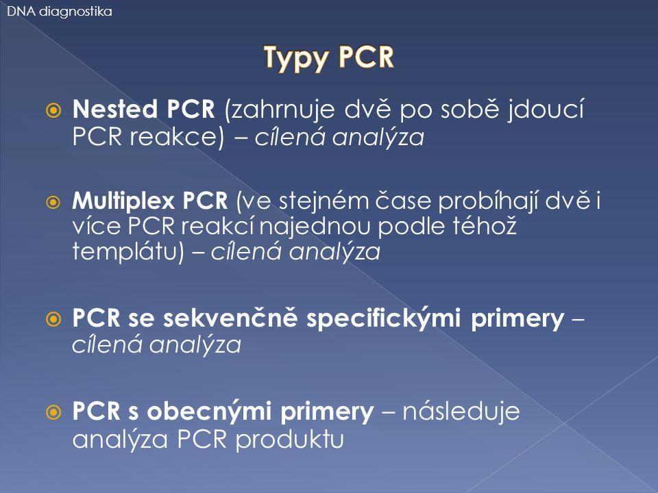  Nested PCR (zahrnuje dvě po sobě jdoucí PCR reakce) – cílená analýza  Multiplex PCR (ve stejném čase probíhají dvě i více PCR reakcí najednou podle