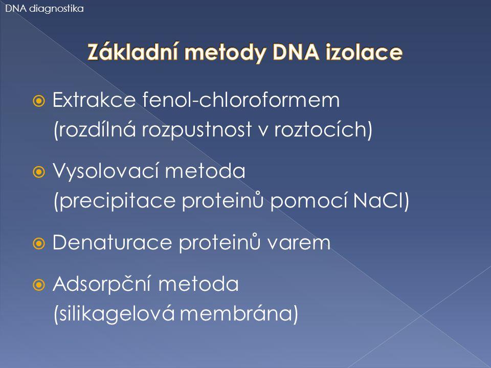  Extrakce fenol-chloroformem (rozdílná rozpustnost v roztocích)  Vysolovací metoda (precipitace proteinů pomocí NaCl)  Denaturace proteinů varem 