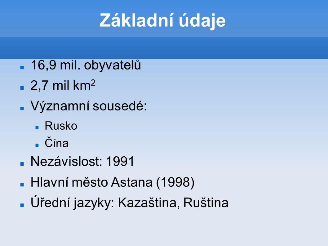 Základní údaje 16,9 mil. obyvatelů 2,7 mil km 2 Významní sousedé: Rusko Čína Nezávislost: 1991 Hlavní město Astana (1998) Úřední jazyky: Kazaština, R