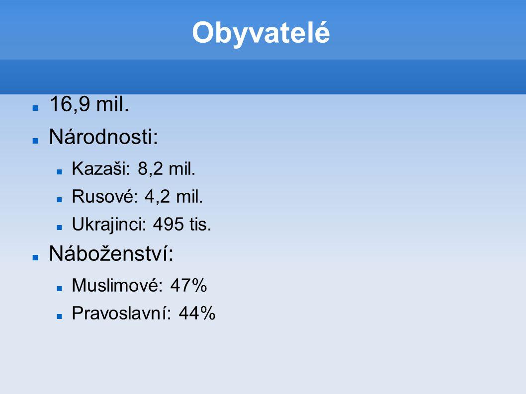 Obyvatelé 16,9 mil. Národnosti: Kazaši: 8,2 mil. Rusové: 4,2 mil. Ukrajinci: 495 tis. Náboženství: Muslimové: 47% Pravoslavní: 44%