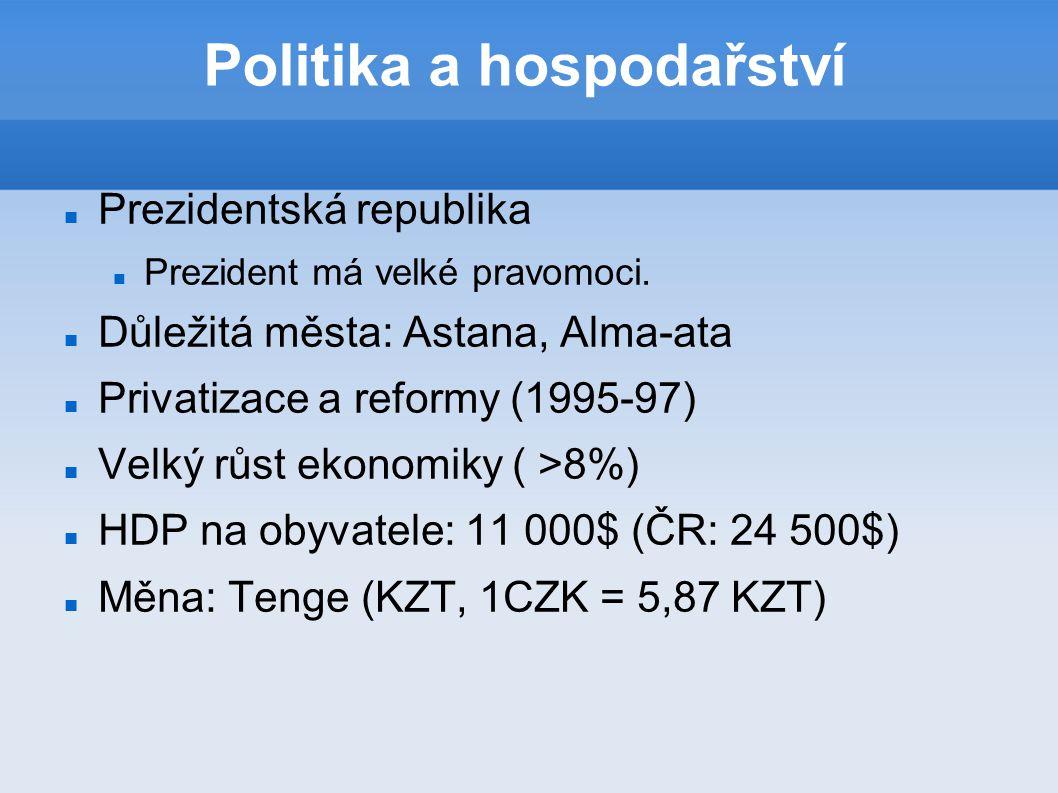 Politika a hospodařství Prezidentská republika Prezident má velké pravomoci. Důležitá města: Astana, Alma-ata Privatizace a reformy (1995-97) Velký r