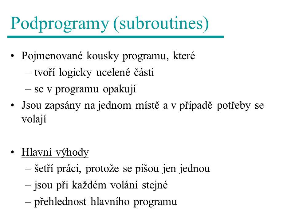 Podprogramy (subroutines) Pojmenované kousky programu, které –tvoří logicky ucelené části –se v programu opakují Jsou zapsány na jednom místě a v případě potřeby se volají Hlavní výhody –šetří práci, protože se píšou jen jednou –jsou při každém volání stejné –přehlednost hlavního programu