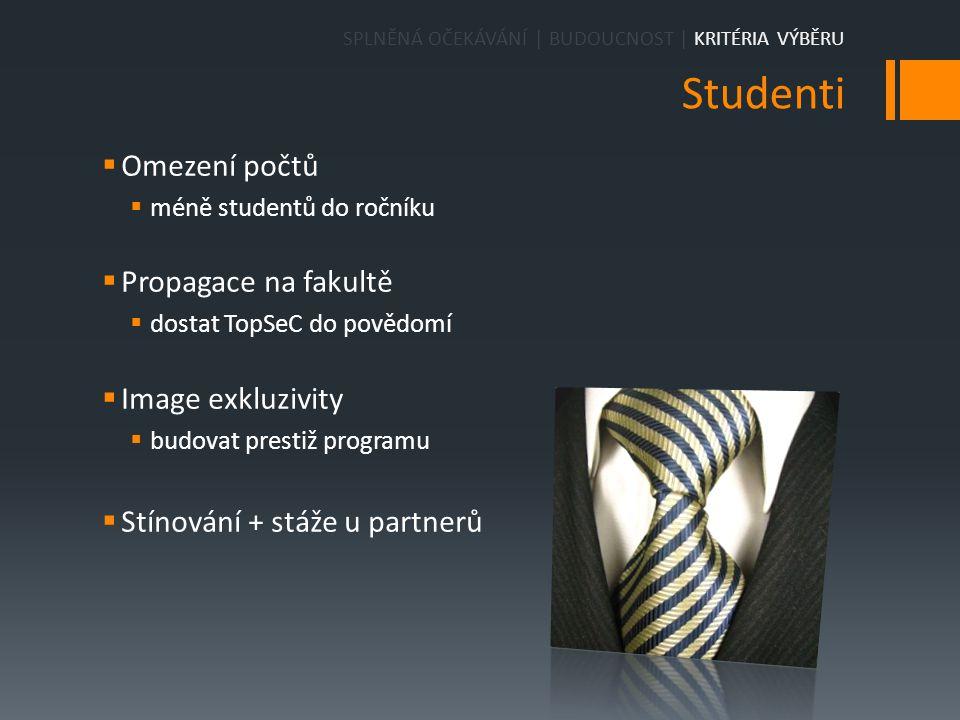 Studenti  Omezení počtů  méně studentů do ročníku  Propagace na fakultě  dostat TopSeC do povědomí  Image exkluzivity  budovat prestiž programu