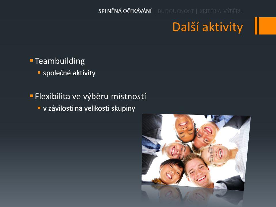 Další aktivity  Teambuilding  společné aktivity  Flexibilita ve výběru místností  v závilosti na velikosti skupiny SPLNĚNÁ OČEKÁVÁNÍ | BUDOUCNOST