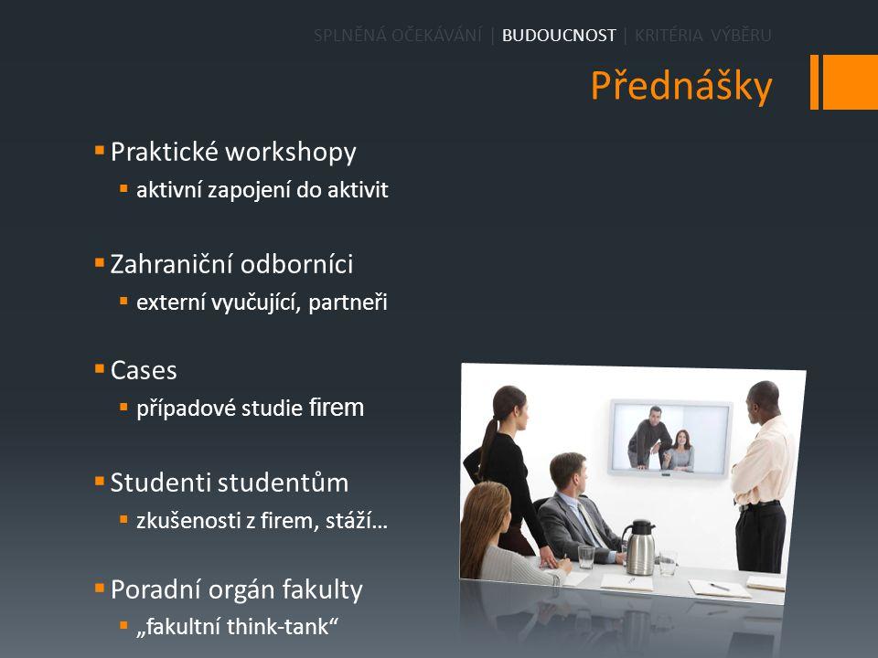 Přednášky  Praktické workshopy  aktivní zapojení do aktivit  Zahraniční odborníci  externí vyučující, partneři  Cases  případové studie firem 