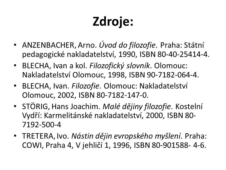 Zdroje: ANZENBACHER, Arno. Úvod do filozofie. Praha: Státní pedagogické nakladatelství, 1990, ISBN 80-40-25414-4. BLECHA, Ivan a kol. Filozofický slov