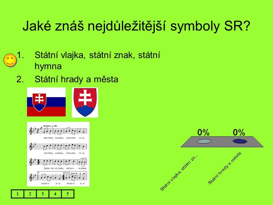 Jaké znáš nejdůležitější symboly SR? 12345 1.Státní vlajka, státní znak, státní hymna 2.Státní hrady a města